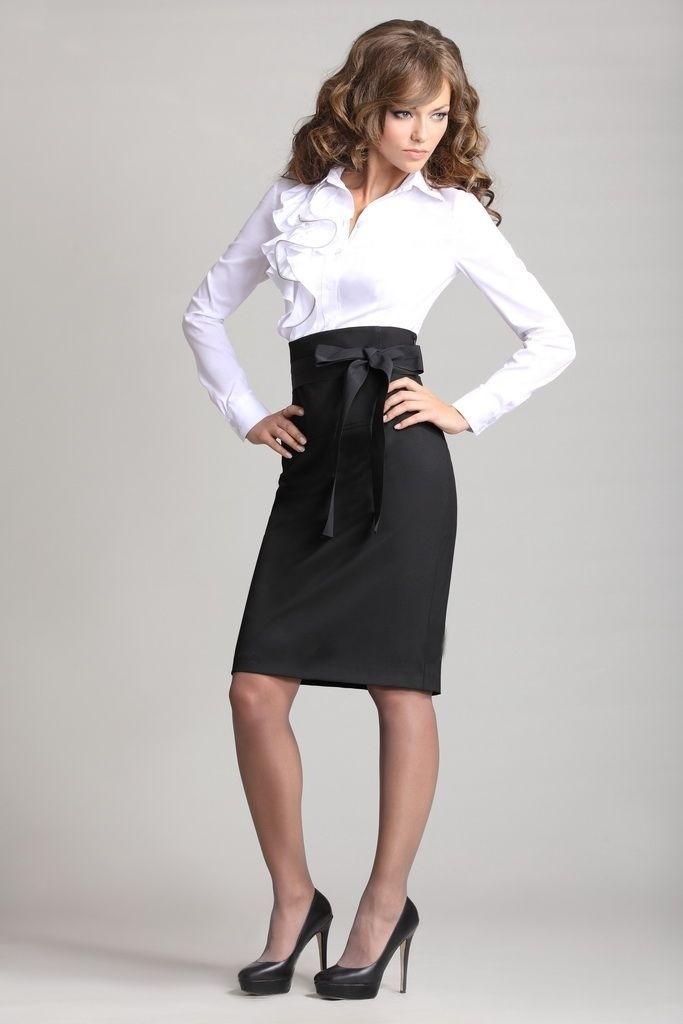 черная юбка высокая талия под белую блузку