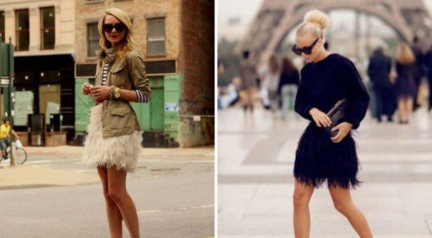 юбки из перьев черная белая
