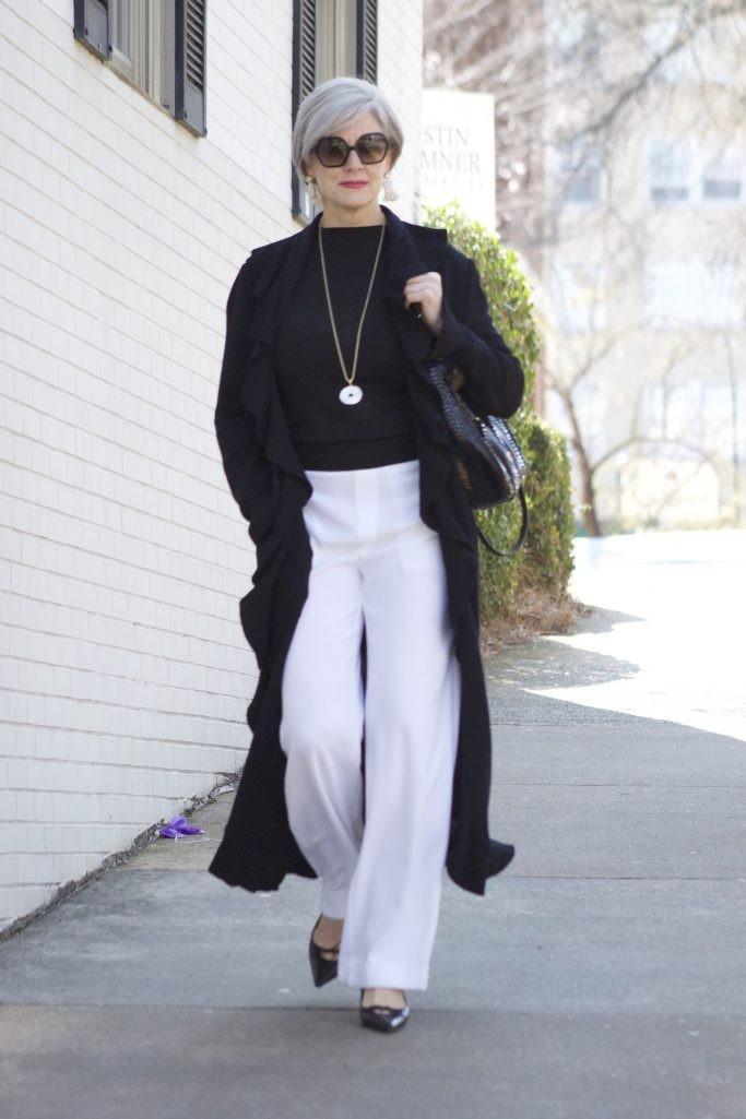 белые штаны широкие под жакет длинный