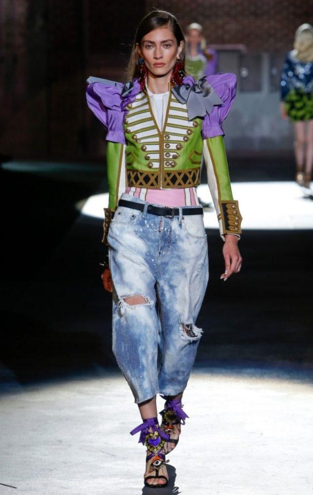 джинсы варенки рваные широкие