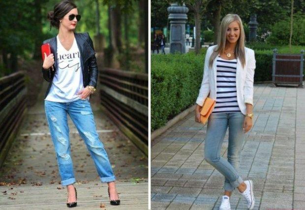 джинсы под футболку и под жакет