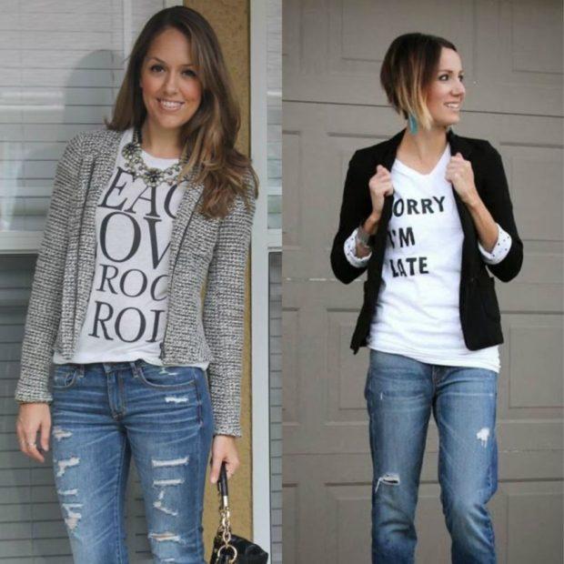 синие джинсы под футболку белую с надписями и пиджак серый черный
