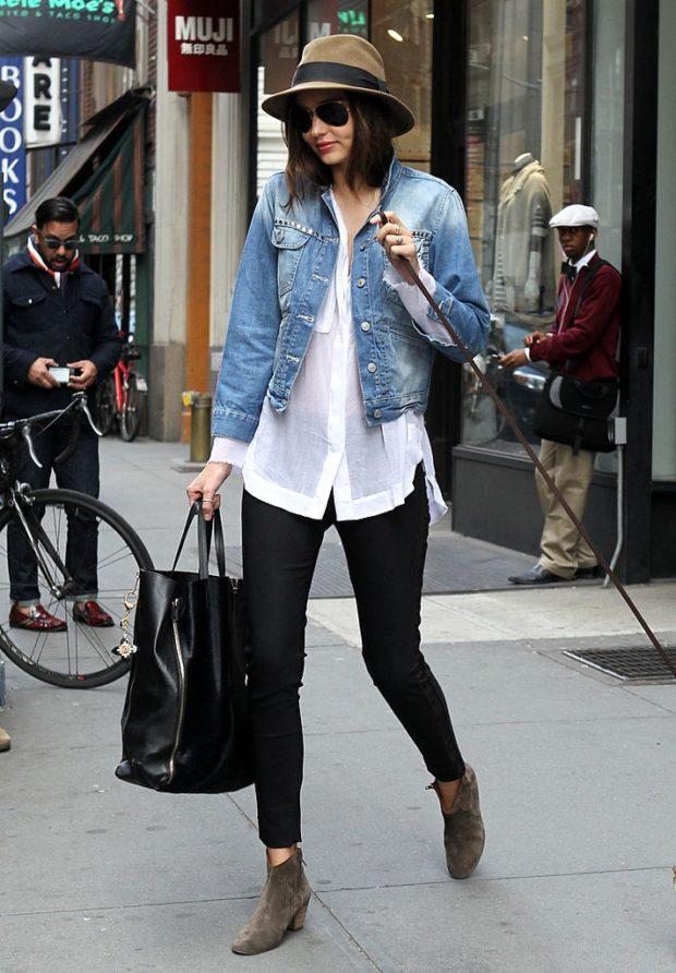 черные джинсы под белую блузку джинсовую курточку