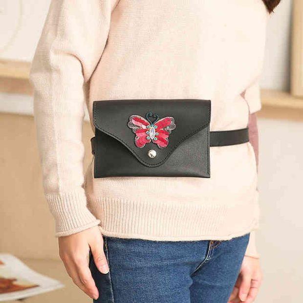 сумка на пояс черная с бабочкой