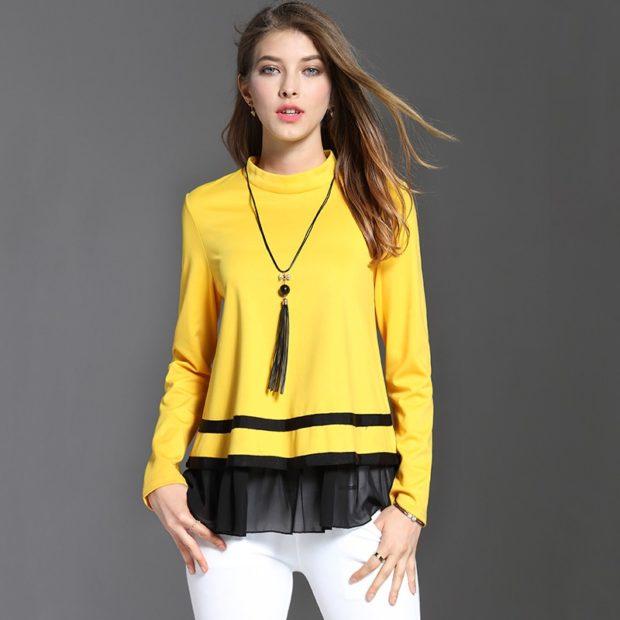 белые штаны под желтую кофту с черным