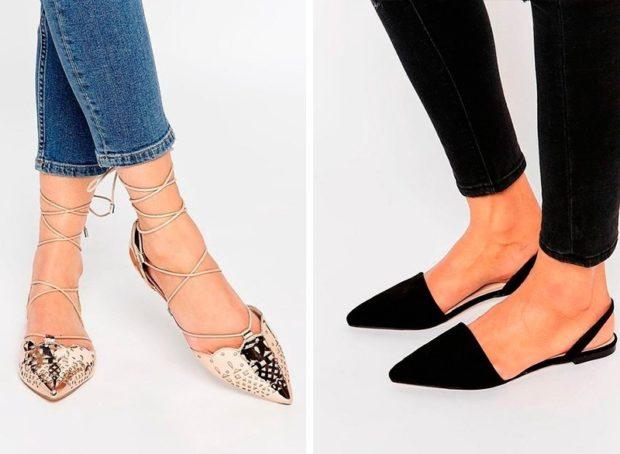 сандалии с острым закрытым носком золотые черные