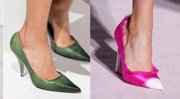 туфли лодочки зеленые  малиновые с белым носком
