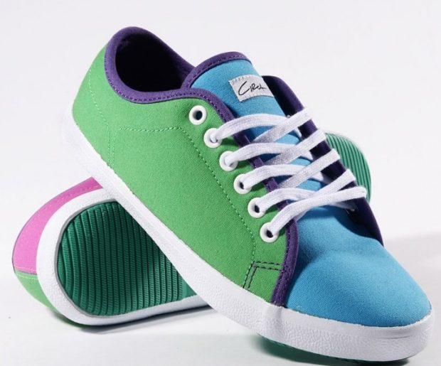 кеды ярки зеленые с голубым