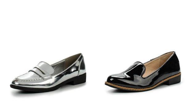 туфли лоферы серебристые черные лаковые