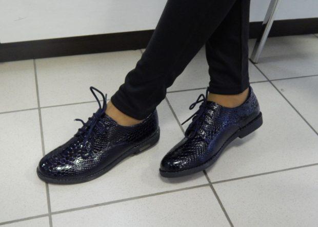 туфли кожаные синие со шнуровкой