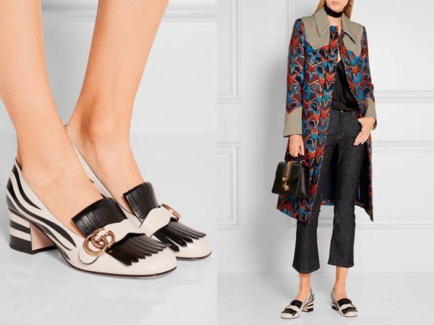 туфли на небольшом каблуке белые с черным