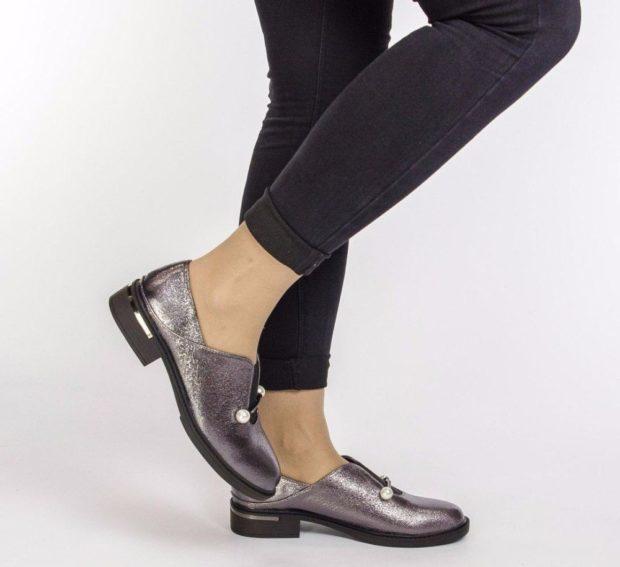 туфли серебристые на небольшом каблуке