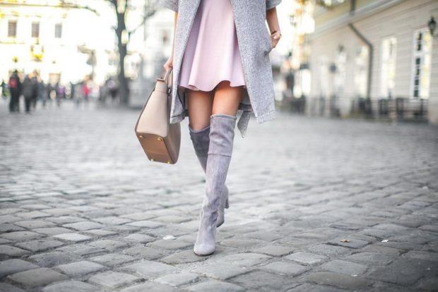 ботфорты серые на каблуке замшевые