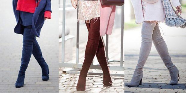 ботфорты на каблуке синие коричневые серые