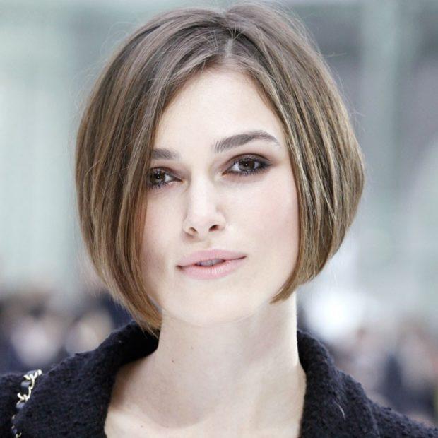 женские стрижки 2018 2019 модные тенденции фото: боб на короткие волосы без челки
