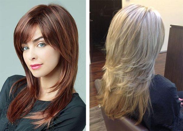 модные стрижки 2018 2019 женские: аврора на длинные волосы с косой челкой вид сзади