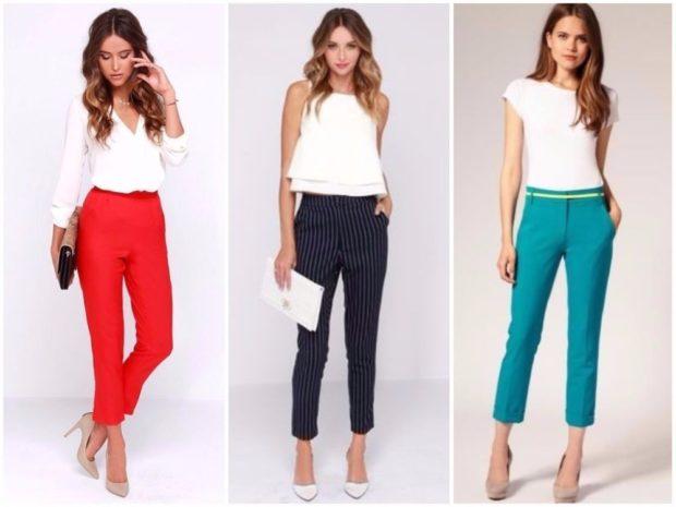 Модные тенденции весна лето 2021: брюки короткие красные черные в полоску бирюзовые