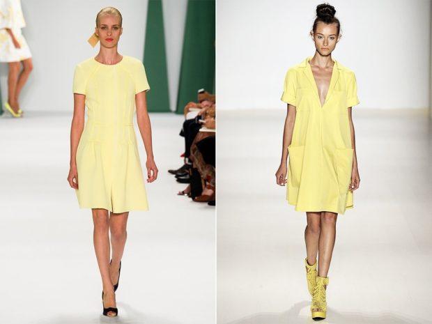Модные тенденции весна лето: платья желтые с короткими рукавами