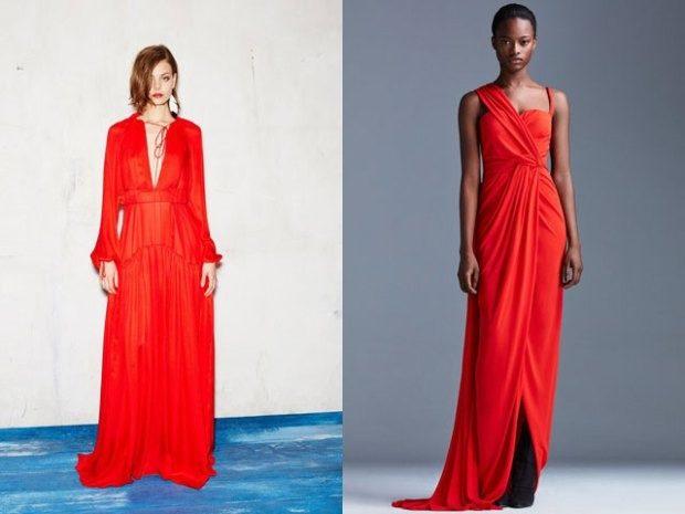 Модные тенденции весна лето: красное платье длина миди с рукавом красное