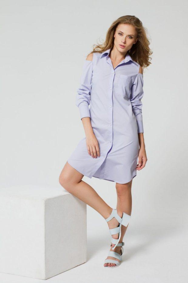 платье-рубашка нежно-лилового цвета