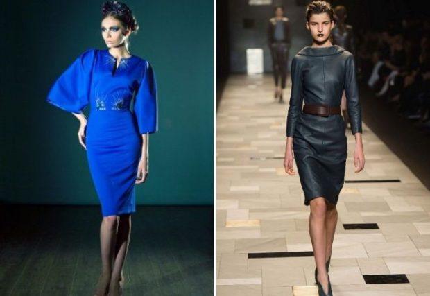 синее платье с широким рукавом платье темно-зеленое кожаное