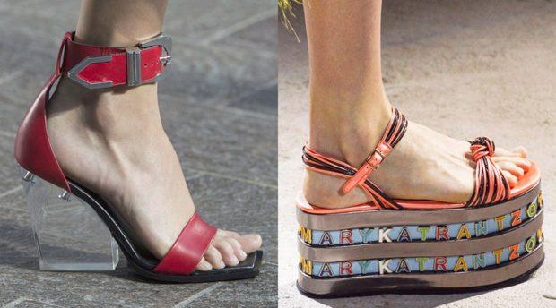красные босоножки с прозрачным каблуком босоножки на платформе оранжевые