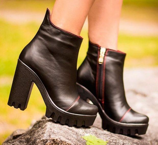 ботинки кожаные черные на тракторной подошве с толстым каблуком