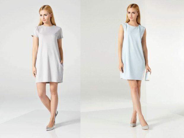 платье серое с коротким рукавом платье нежно-голубое