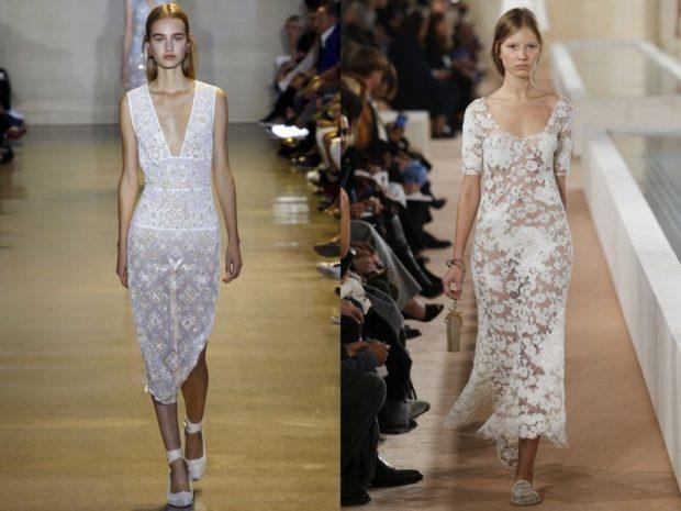 белые ажурные прозрачные платья длина миди
