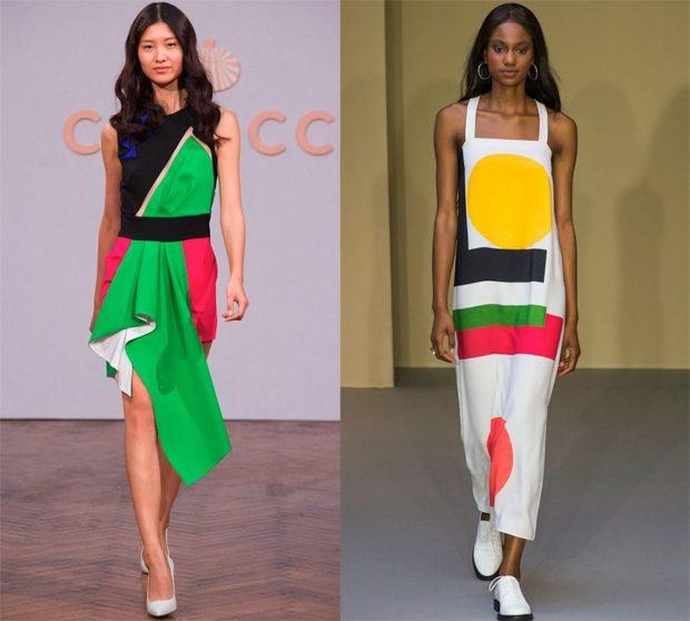 Модные тенденции весна лето 2021: яркие платья цветные открытые плечи