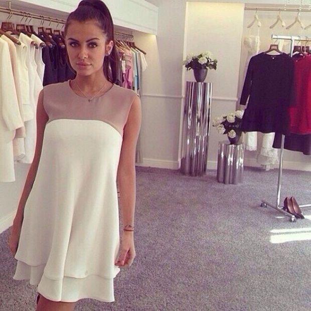 платье белое с бежевым без рукава
