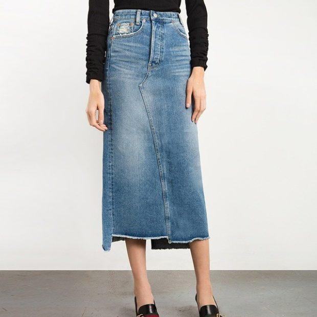 джинсовая юбка длина миди