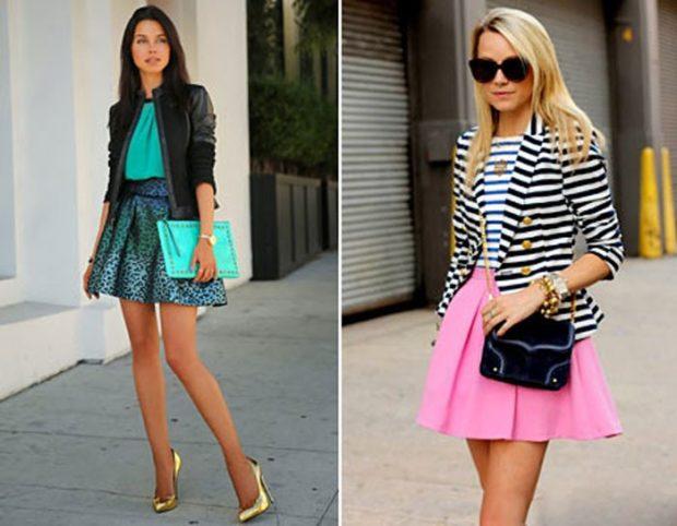 короткая юбка зелено-синяя розовая