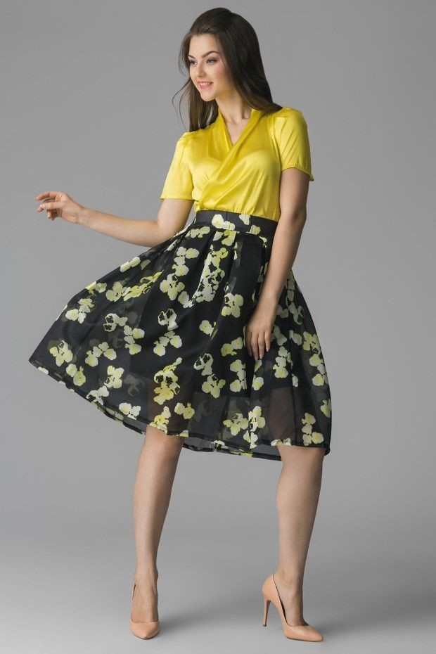 юбка черная в желтые цветы