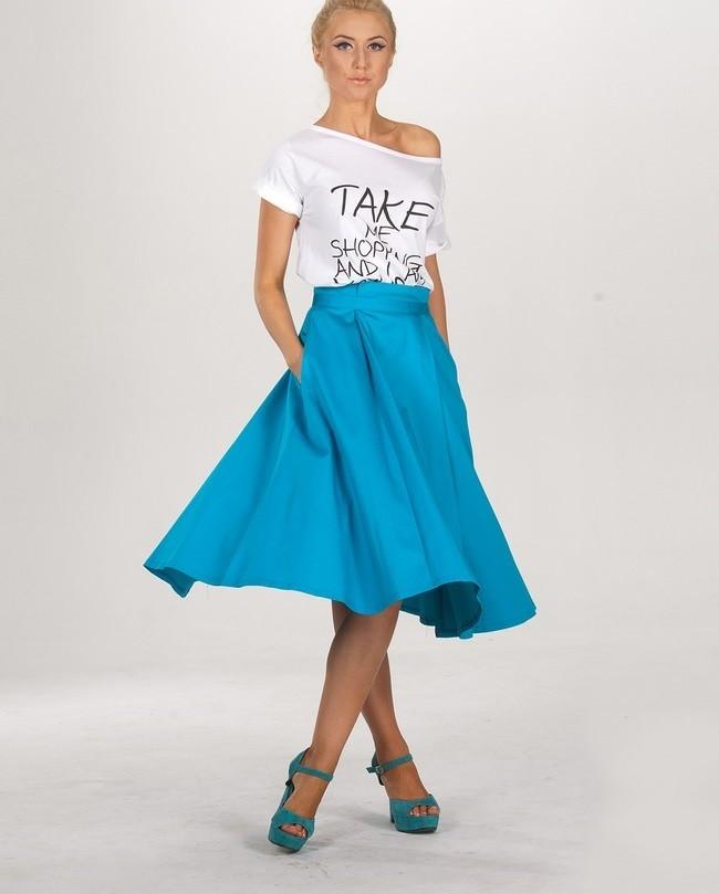 голубая юбка-солнце с карманами