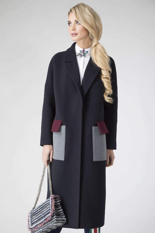 пальто черное деловое с карманами серыми с бордовым