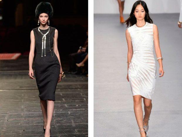 Модные тенденции весна лето 2021: черное платье белое платье по колено
