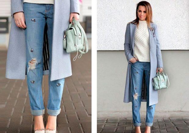 серое пальто под джинсы рваные
