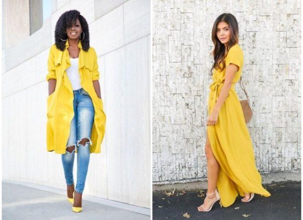 желтый плащ под желтое платье-рубашку длина миди