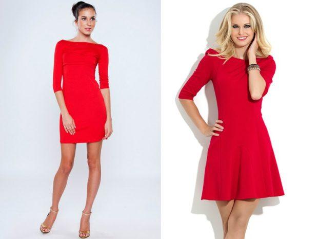 красные платья с рукавом 3/4 короткие