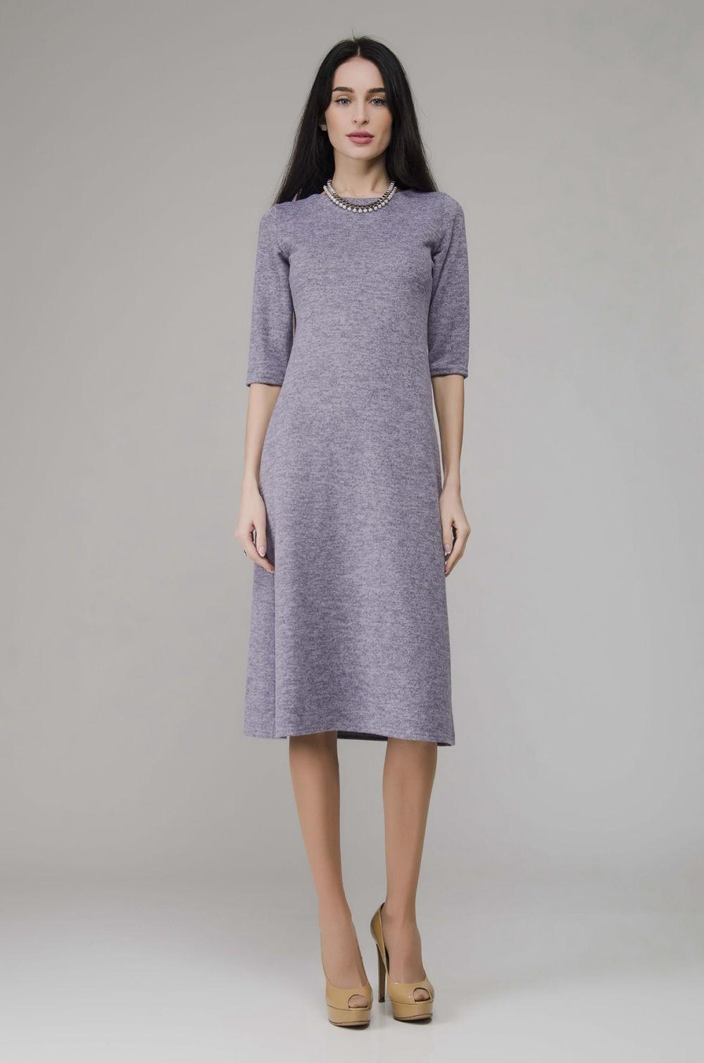 платье длина миди рукав 3/4 цвет лаванды