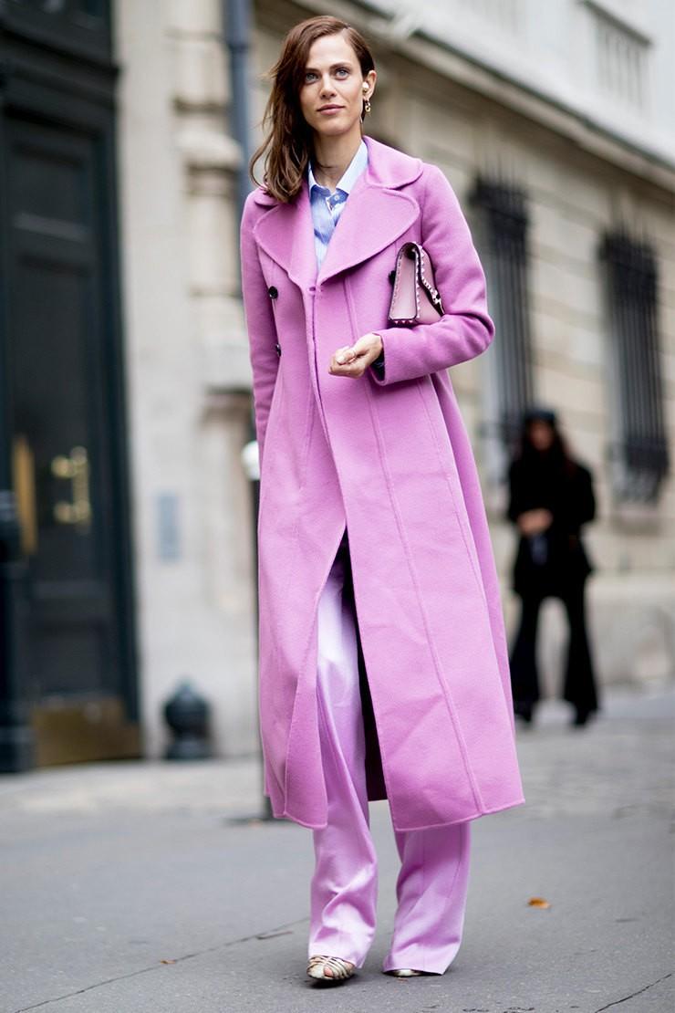 пальто цвет лаванды длина миди