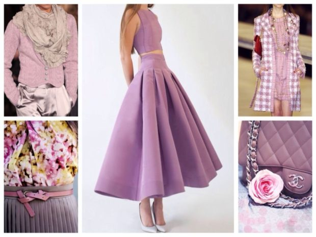 лиловое платье длина миди юбка в складку