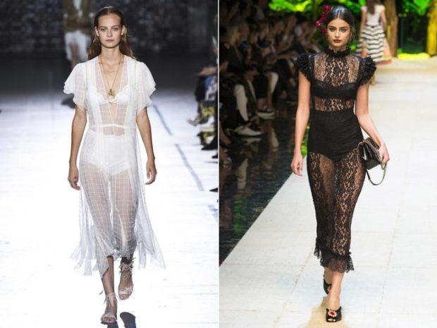 Модные тенденции лето 2021: белое черное платья прозрачные