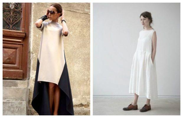 асимметричные платья белое с черным белое без рукава