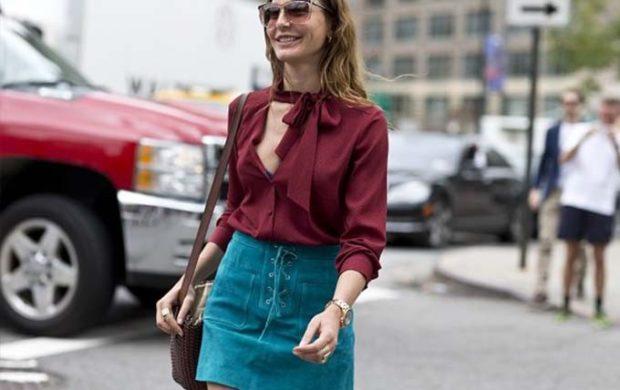 зеленая юбка под бордовую блузку