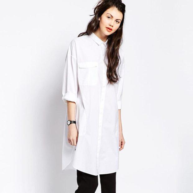 длинная рубашка белая под брюки черные