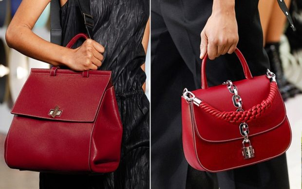 красные кожаные сумки