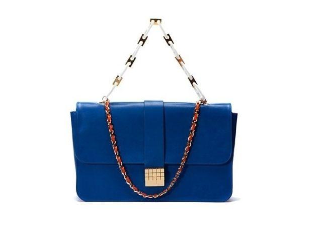 синяя сумка ремень-цепочка