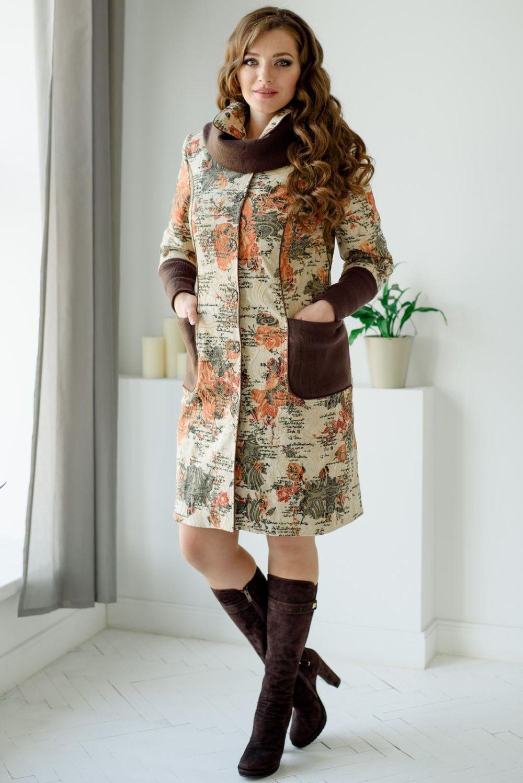 пальто цветочный принт с коричневыми вставками